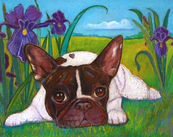 French Bulldog Painting art iris French Bulldog painting art irises Frenchie Original Painting
