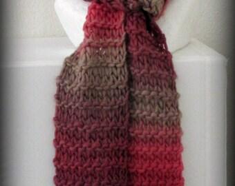 scarf - knit scarf - hand knit scarf - hand made scarf - Merino wool knit scarf - Merino wool scarf - wool scarf - red scarf - cherries wool