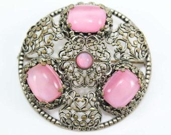 Vintage 1940s Pink Moonstone CZECHO Filigree Brooch