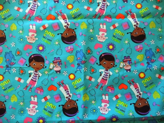 Doc msstuffins disney fabric by the yard turquoise childrens for Kids fabric by the yard