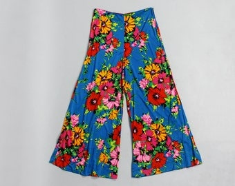 High Waisted Palazzo Pants M • 70s Pants • Floral Pants • Wide Leg Pants • Flowy Pants • Flared Pants • Turquoise Stretch Pants | P123