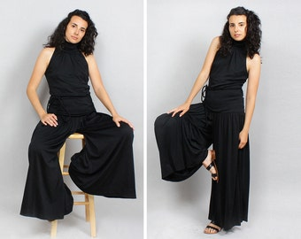 70s Jumpsuit S • Palazzo Jumpsuit • Black Jumpsuit • Wide Leg Jumpsuit • Drop Waist Wide Leg Pants • Avant Garde Harlem Pants | D558