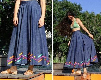 Maxi denim skirt | Etsy