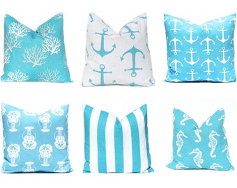 Turquoise Pillow Covers, Beach Decor, Nautical Pillow Cover, Beach Decor,  Cushion Cover, Decorative Throw Pillow Cover, Beach Decor 18 x 18