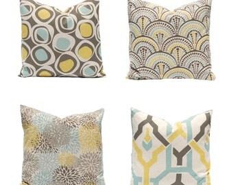 Euro Sham - Sofa Pillows - Decorative Pillow Covers - Brown Pillow Covers - Aqua and Yellow - Throw Pillow Covers - Linen Pillows - Circles