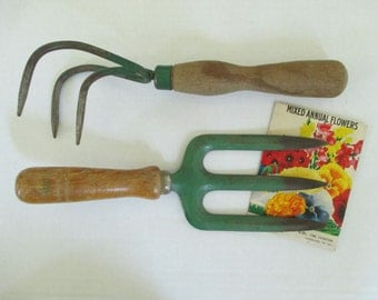 Vintage Metal Garden Tools - Wooden Handles - Old Green Paint - Two in Lot