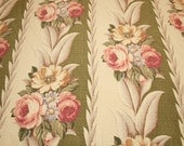 """Rare Moss Green and Cream Glen Court Vintage Barkcloth Fabric Piece - 35"""" Long x 44"""" Wide Plus Small Additional Amount"""