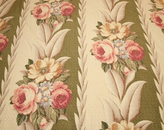 "Rare Moss Green and Cream Glen Court Vintage Barkcloth Fabric Piece - 35"" Long x 44"" Wide Plus Small Additional Amount"