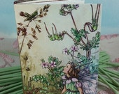 LAST ONE Vintage Flower Fairy Cover on Small Stitched Green and Maroon Writing Journal