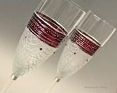 Champagne Glasses, Hand Painted, Set of 2, Custom Order