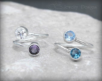 DUAL BIRTHSTONE RING - 6mm gemstones, mother's ring, dual birthstone ring, two birthstones, dual gemstone ring, sterling silver