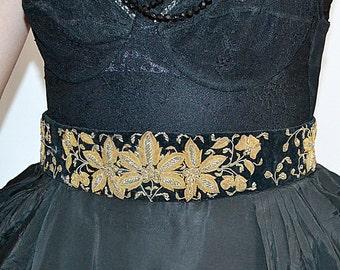 Vintage Wide Heavily Embroidered Black Velvet and Gold Metallic Bullion Belt 31 Inches