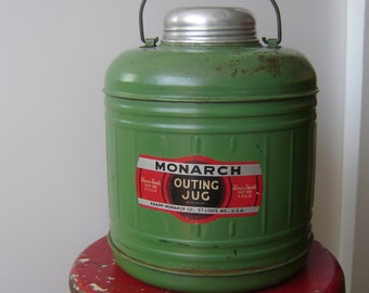 Vintage Camp Ceramic Jug ~ Monarch Outing Jug ~ Lined Thermal Thermos ~ Knapp Monarch ~ Heavy Green Jug with Metal and Wood Handle
