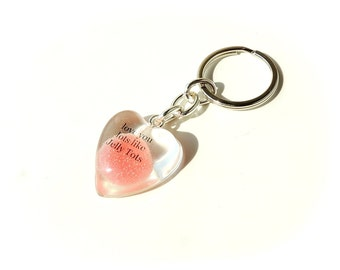Red Jelly Tot Keyring with Words Love You Lots Like Jelly Tots, Jelly Tot Gift, Jelly Tot Heart, Gift Loved One, UK, 1556