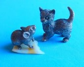 Cat and Mouse Bronze Miniatures by Nikita Fedosov, Art Bronze Figurines, 2 Collectible Animal Miniatures RESERVED