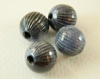 Slate Blue Torch Fired Enameled Beads Set