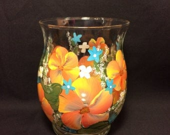 Hand Painted Glass Hurricane Style Vase or Candle