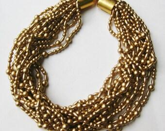 Vintage Carolee Gold Bead Multi Strand Choker Necklace