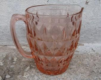 jeannette glass windsor pattern pink glass drink pitcher cubist diamond optic