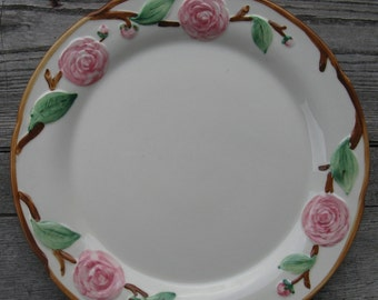 metlox pottery camellia large round platter  1940s california pottery hand painted