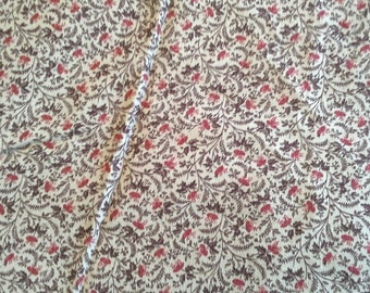 Brown Calico Print 3 1/4 Yards Quilting Cotton Fabric X0597