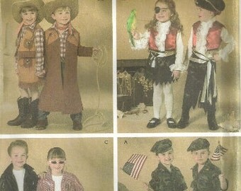 Children's Costumes Simplicity 4918 Sizes 3 4 5 6 7 8, Cowboy, Cowgirl, Pirate, Soldiers