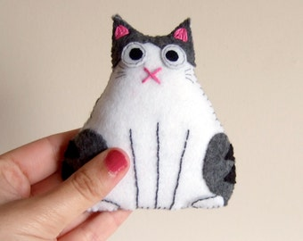 fat cat plush plushie white and tabby spotted stripes