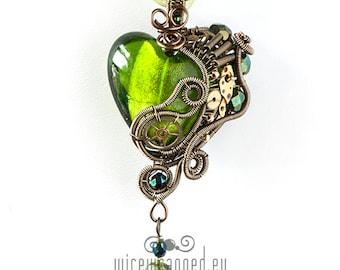 OOAK Green steampunk heart pendant