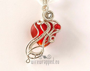 OOAK red heart wire wrapped pendant