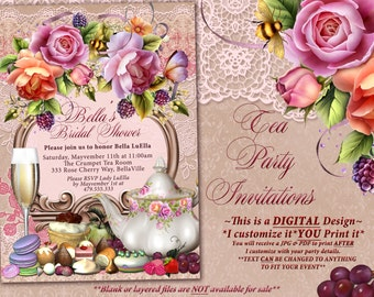 Tea Party Invitation, Bridal Tea Party, Garden Tea Party, Bridal Tea Shower