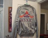 Vintage 80's STYX 1981 concert tour road crew satin silver satin Ultra Rare Jacket L