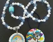 Custom roller skating necklace bracelet and hair ties