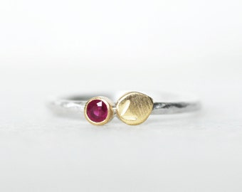 Ruby Bloom Ring - Ruby 18k Gold and Sterling Silver Petal Stacking Ring - OR Choose ALL Gold