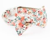 Les Fleurs Rosa Flora Peach Dog Bowtie Collar - Rifle Paper Co.