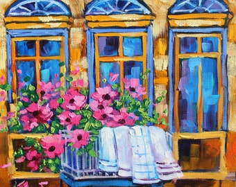 Original oil painting, Laundry art, Impressionism, Landscape Art, Gorgeous Windows, Flower painting by Rebecca Beal