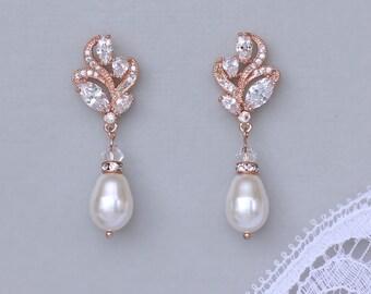 Rose Gold Earrings, Crystal Bridal Earrings,  Pearl Drop Earrings, Pearl Jewelry, FLEUR RG
