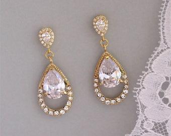 Gold Bridal Teardrop Earrings, Gold Crystal Earrings, CLIP ON Earring Option,  Bridal Jewelry, Wedding Jewelry, JASMINE Gold