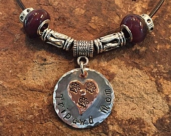 Tripawd Mom Copper and Silver Aluminum Stamped Charm with Necklace