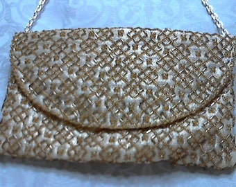 Golden Beaded Clutch or Shoulder Purse by Walborg