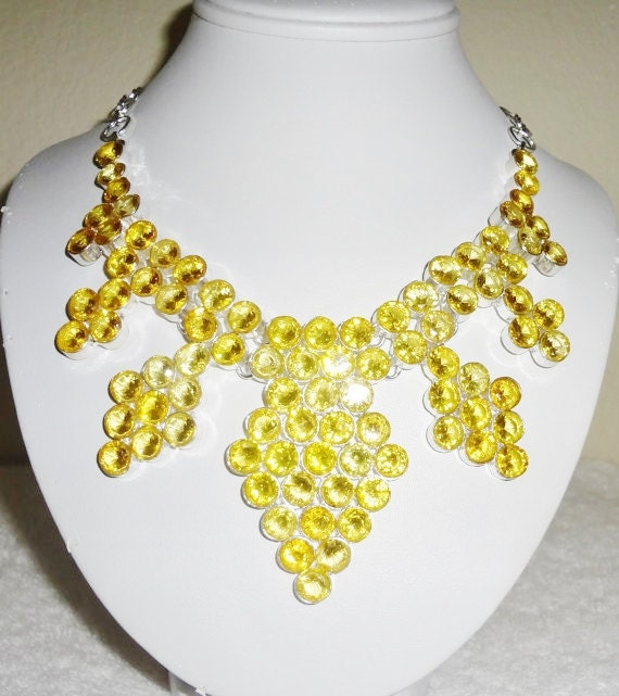 Yellow Citrine Quartz stones, solid sterling silver Necklace