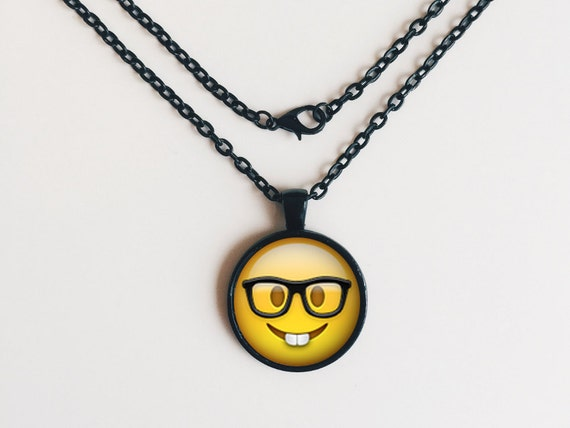Nerd with Glasses Emoji Necklace or Keychain