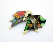 STEAMPUNK comic book crow bow barrette clip