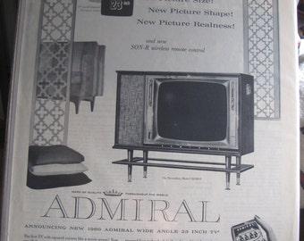 1960 Admiral TV Television Ad 23 Inch Console SONR Remote Control Full Page Ad