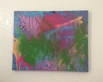 Original abstract painting, green, pink, blue, purple painting, wall decor, acrylic painting