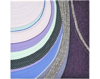 Moraine Textile art artwork square 12 x 12 Abstract Purple Lilac Mauve Blue Black Curves