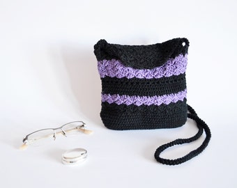 Crossbody purple bag Shoulder black purse, Purple summer bag, Black summer purse