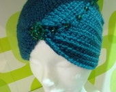 Boho Style Crochet Blue-Green Wool Turbans and Gloves,Blue- Green Turbans and Gloves,Crocher knitting Turbans and Gloves.