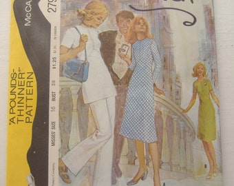 McCall's Pattern 2794 Misses' Dress or Tunic and Pants, A Pounds Thinner Pattern, Size 16, Bust 38