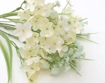 CREAM Plastic Baby's Breath Bush - Gypsophila - Artificial Flowers, Greenery, Filler