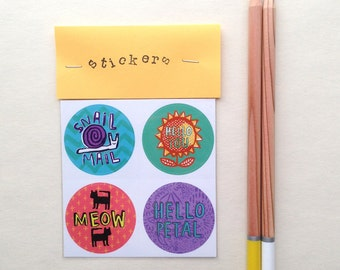 Set of 4 cute & bright stickers - fun stocking filler - stationary snail mail - illustrated cats and dogs